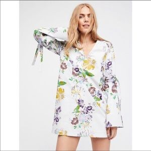 NWT Free People Floral Bell Sleeves Tunic Dress